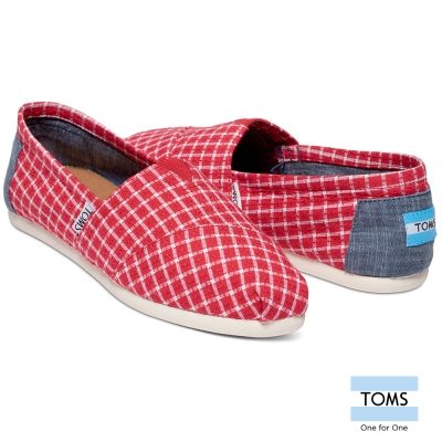 TOMS-格紋帆布懶人鞋-女款-紅