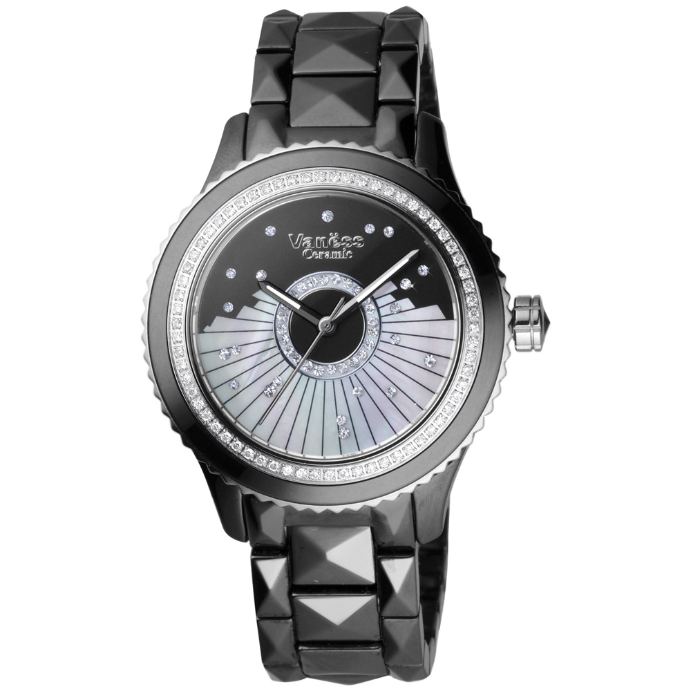 Vaness冬戀序曲陶瓷腕錶-黑38mm