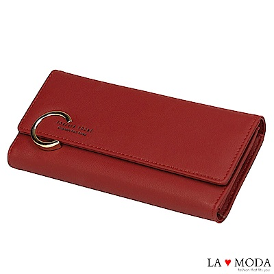 La Moda 時尚品牌Look大C釦大容量多卡位長夾(紅)