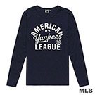 MLB-紐約洋基隊美式風印花長袖T恤-深藍 (女)