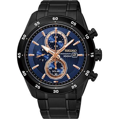 SEIKO精工 Criteria 零極限三眼計時腕錶(SSC539P1)-藍x黑/44mm