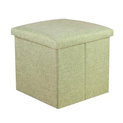 簡約麻布收納椅38x38x38cm(綠色)