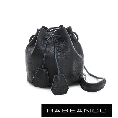 RABEANCO-真皮荔枝紋經典束口水桶包-黑