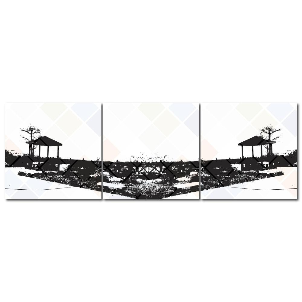 123點點貼- 三聯式無痕創意壁貼 - 夢之橋30*30cm