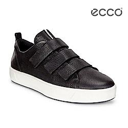 ECCO SOFT 8 LADIES 簡約魔鬼氈休閒鞋-黑