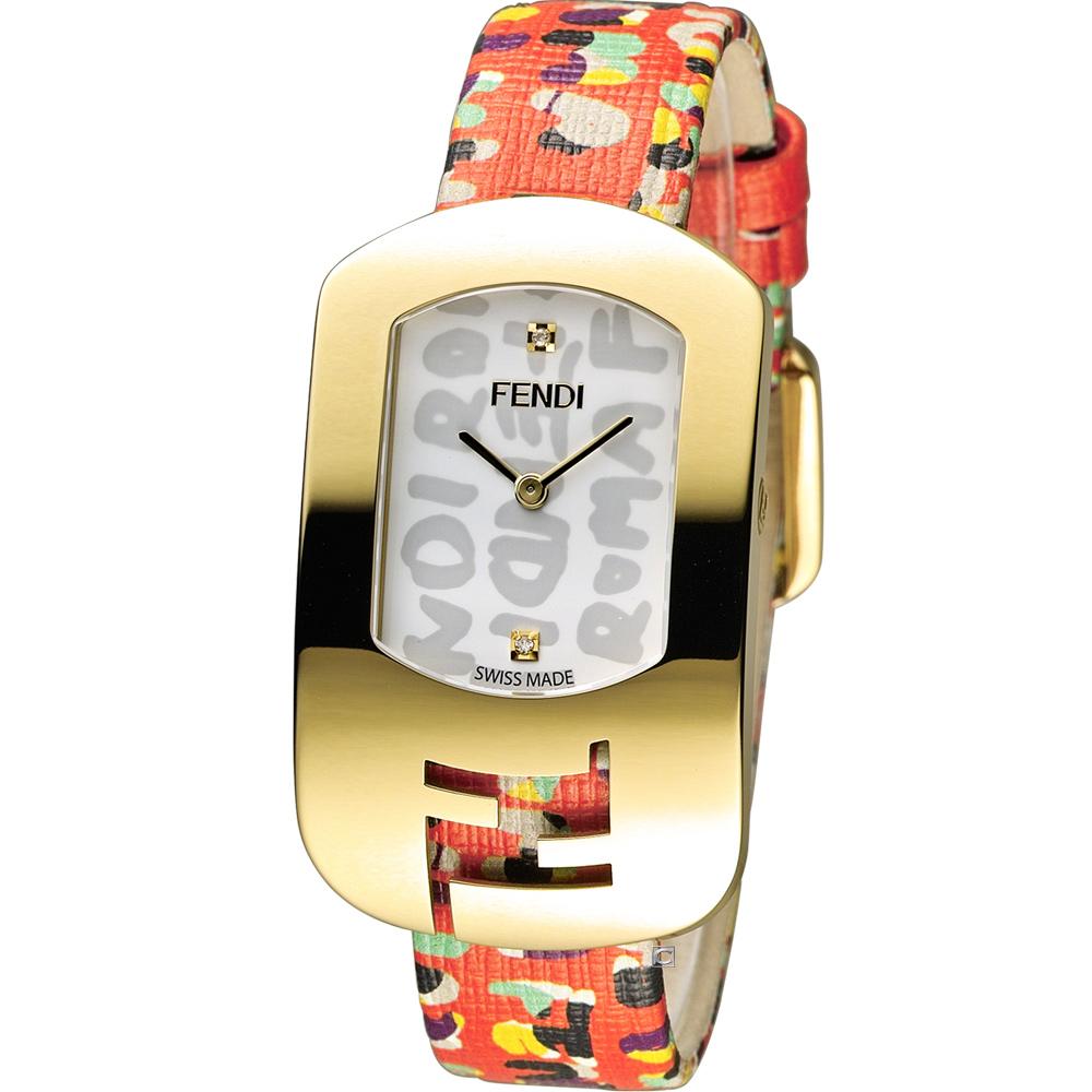 FENDI CHAMELEON 塗鴉邂逅時尚腕錶-金色/29x49mm