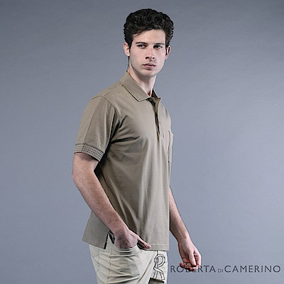 ROBERTA諾貝達 台灣製  線條細節 彈性短袖POLO棉衫  灰褐
