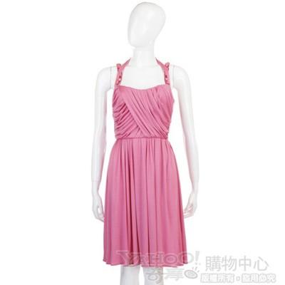 BLUMARINE 桃粉色皺褶細肩帶洋裝
