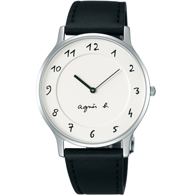 agnes b. 法式風情 簡約薄型腕錶(BJ5004X1)-白/39mm