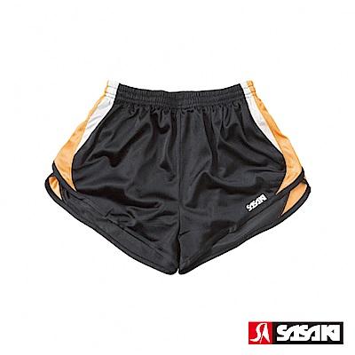 SASAKI 吸濕排汗田徑短褲-女-黑/淺桔/白