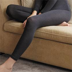 華歌爾-EKS美肌發熱衣M-LL九分長內搭褲(神秘黑)