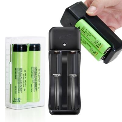 18650新版BSMI認證充電鋰單電池(日本原裝正品)2入+智慧型副廠雙槽充*1