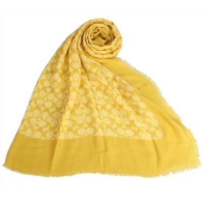 COACH經典滿版C LOGO披肩圍巾-芥黃色