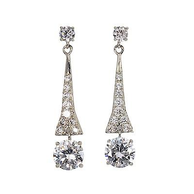 CAROLEE 歐美品牌 垂墜奢華晶鑽銀耳環