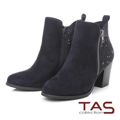 TAS 燙鑽鉚釘雙側拉鍊高跟短靴-深海藍