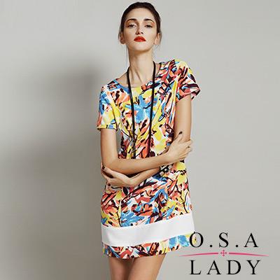 手繪感印花短袖連身裙-黃色-O-S-A-LADY