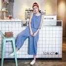 東京著衣 素色牛仔背心+壓褶寬褲套裝-XS.S.M(共一色)