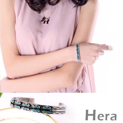 Hera 赫拉 花朵紋樣C型開口手環/手鐲(復古銀)
