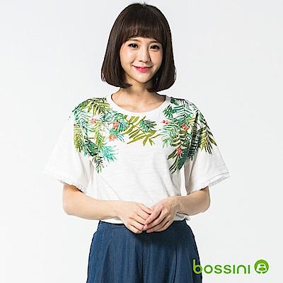 bossini女裝-圓領短袖造型上衣02灰白