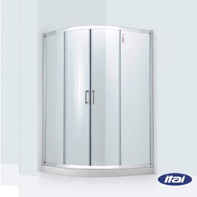 一太淋浴門-角落式圓弧型落地型淋浴門(兩側牆各90~116cm範圍內,高185cm)