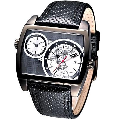 ALBA 超級戰艦大錶徑雙時區腕錶-IP黑(AR4041X1)/46mm 保固二年