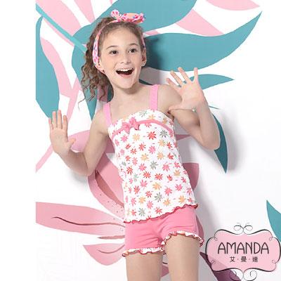 AMANDA 女童泳裝 二截褲-粉甜兒-4804附帽