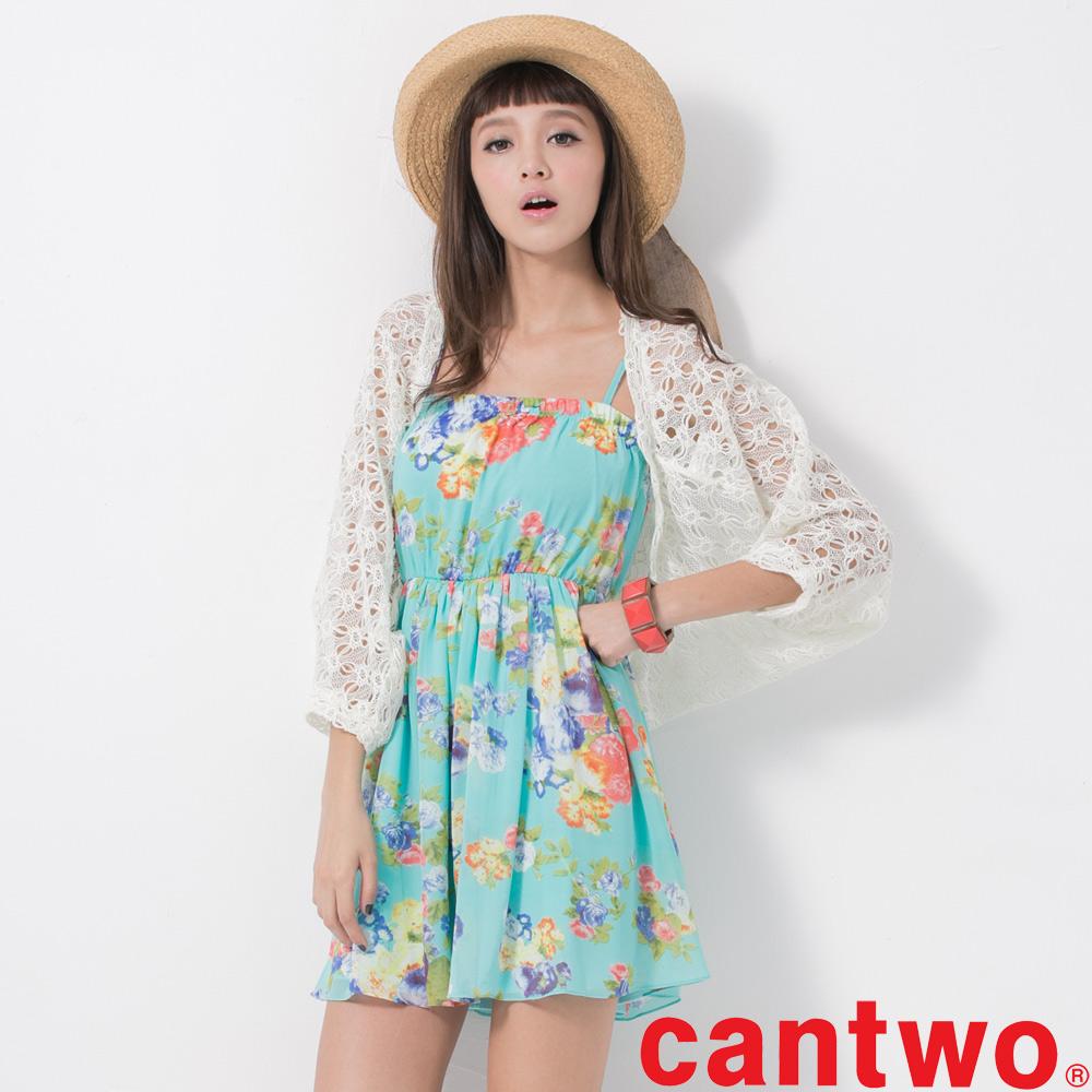 cantwo夏威夷花朵平口雪紡二件式洋裝共二色