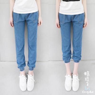 糖罐子-造型口袋下束口縮腰單寧褲-藍M