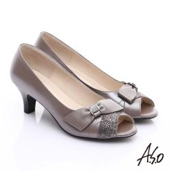 A.S.O 優雅時尚 全真皮絨面牛皮飾帶鑽飾魚口鞋 灰
