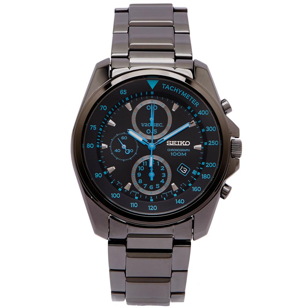 SEIKO藍色俏皮風黑鋼款計時手錶SNDD67P1-黑面x藍色42mm