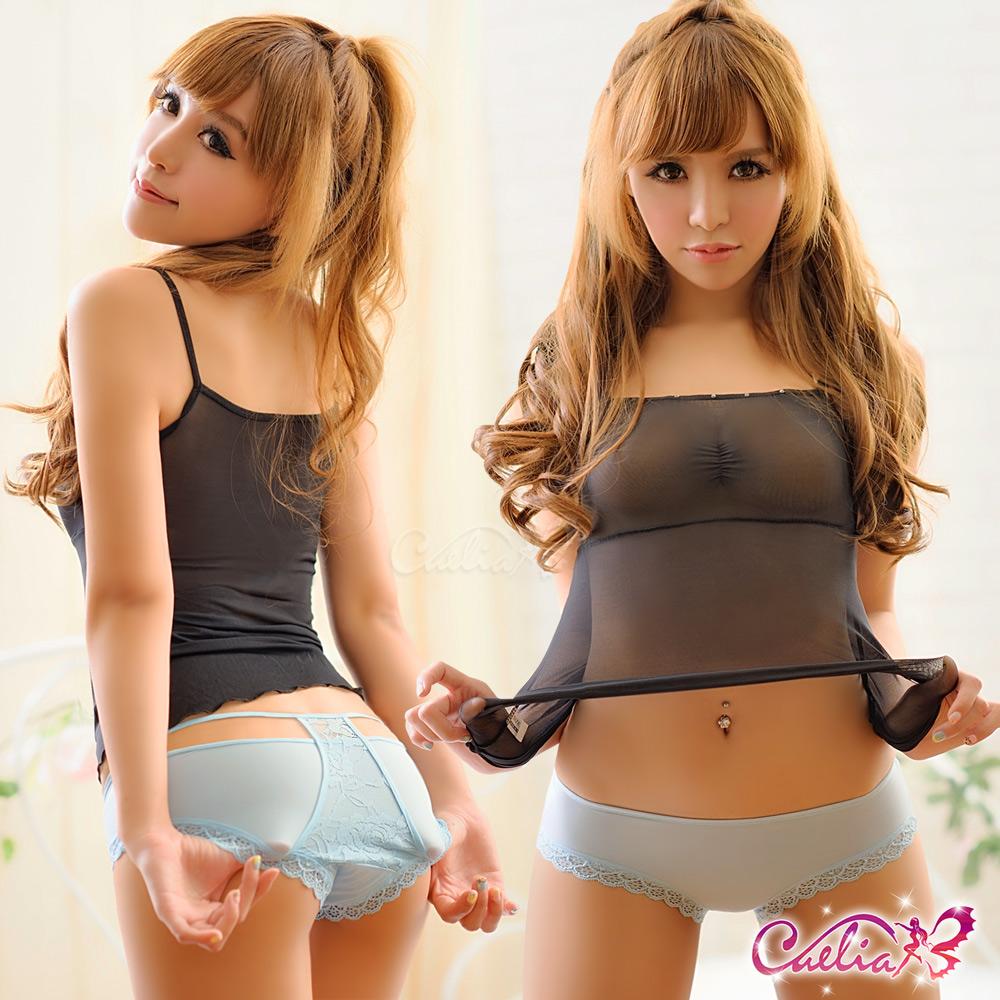 內褲 造型無痕美臀內褲(粉藍) Caelia