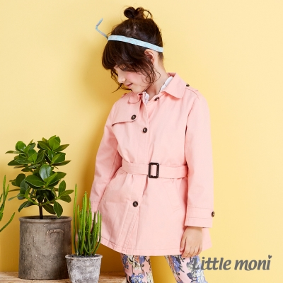 Little moni 歐美街頭時尚風衣外套 粉橙