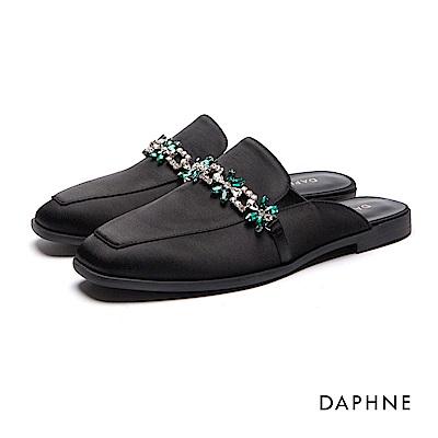 達芙妮DAPHNE 平底鞋-雙色水鑽布面穆勒鞋-黑