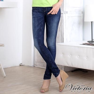 Victoria V字彩鑽低腰窄直筒褲-女-中藍