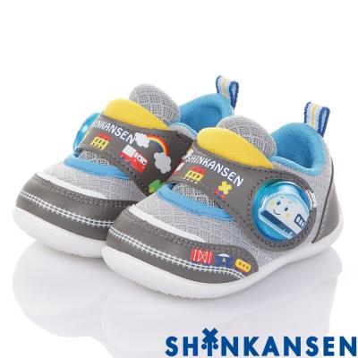 新幹線 輕量透氣抗菌防臭學步電燈童鞋-灰(12.5-15.5cm)