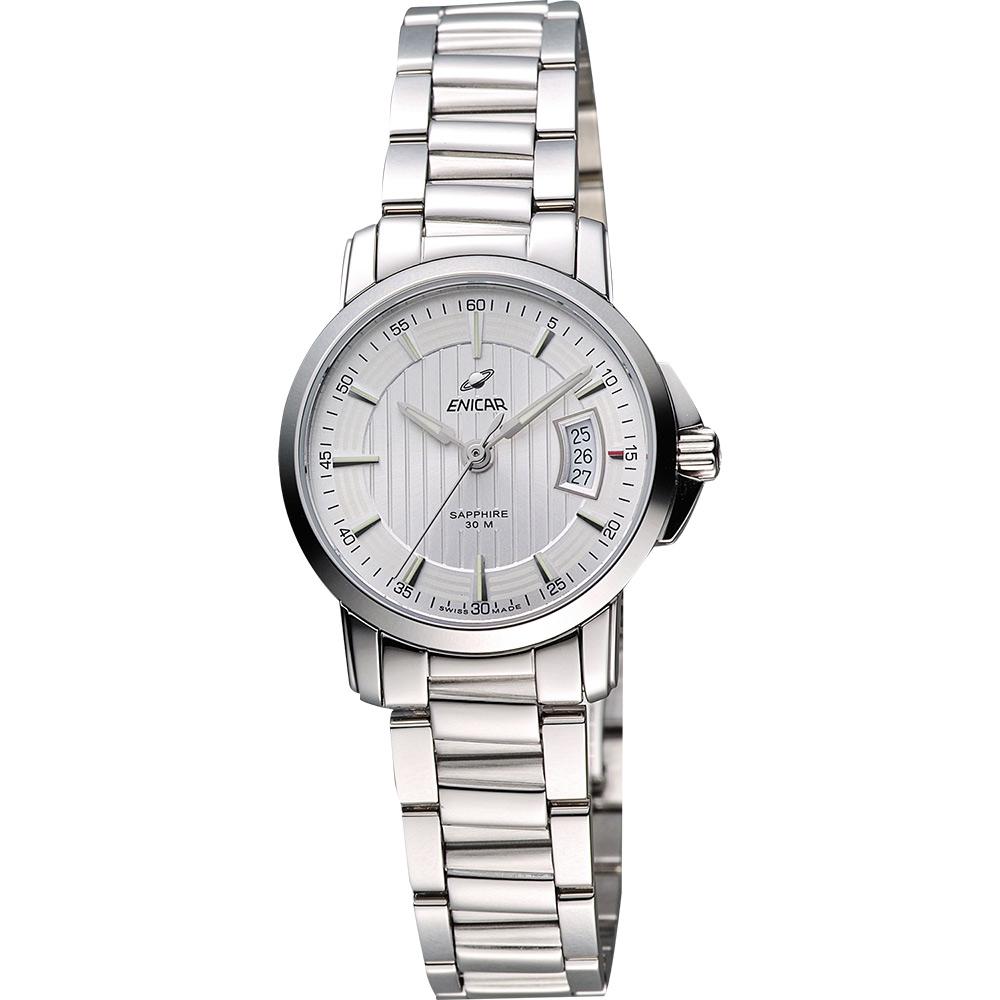 ENICAR 英納格 經典時尚系列石英女錶-銀/26mm