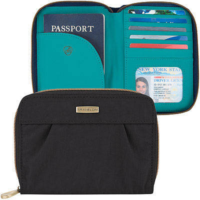 TRAVELON Signature摺紋拉鍊防護證件護照夾(黑)