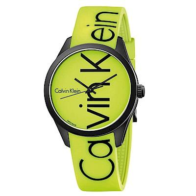 CK CALVIN KLEIN Color 炫彩系列螢光綠品牌字樣手錶-40mm