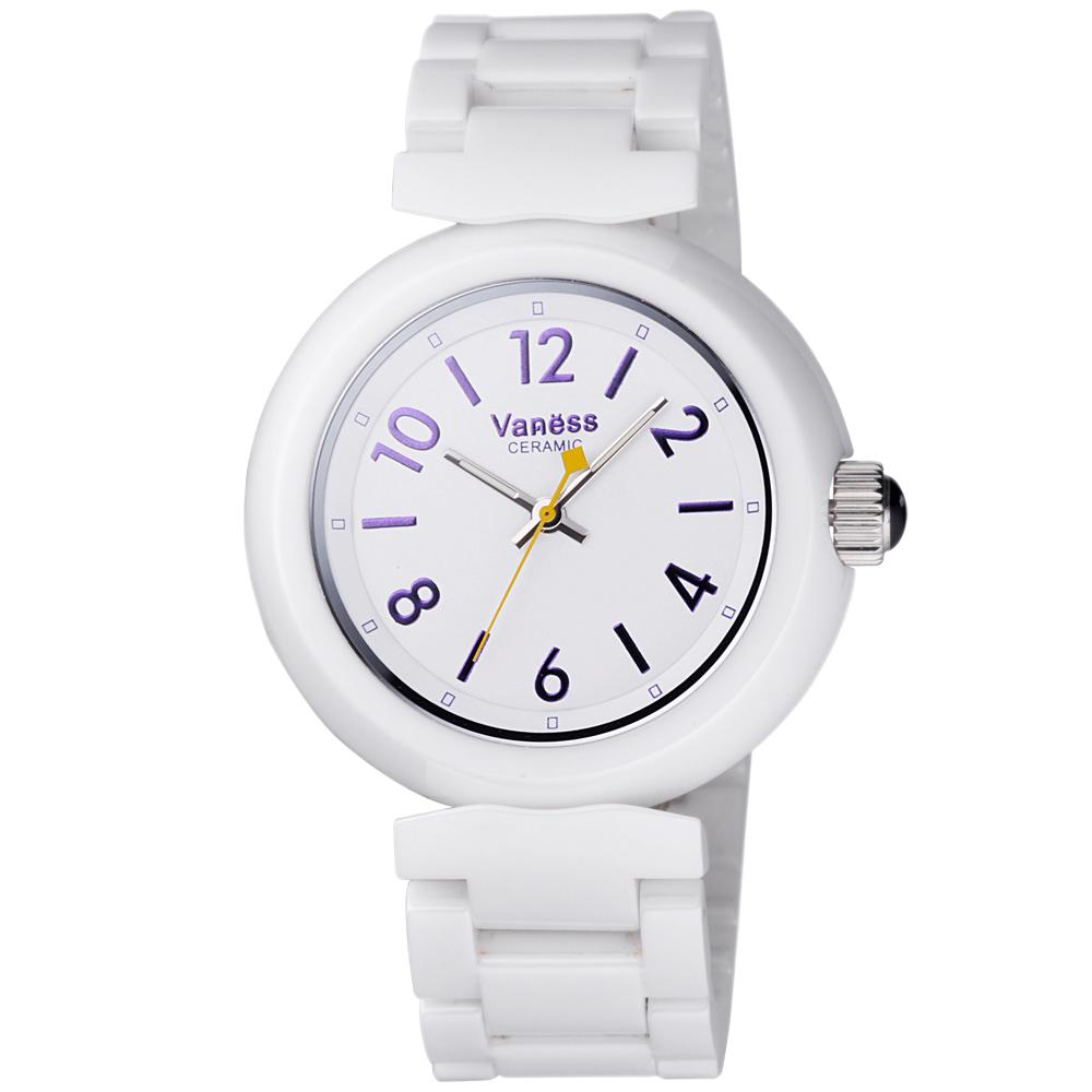 Vaness 美麗心靈時尚陶瓷腕錶-白/40mm