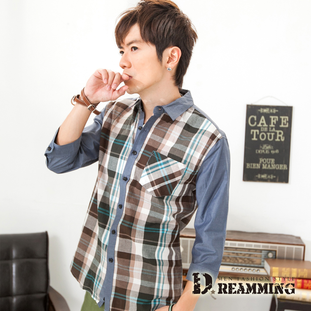 Dreamming 配色拼接格子七分袖休閒襯衫-共二色