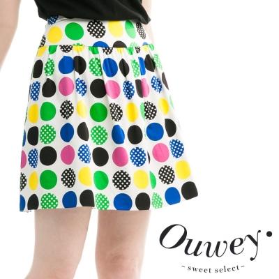 OUWEY歐薇-普普風緞面垂墜裙