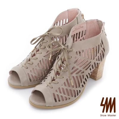 SM-羅馬系列-民俗鏤空綁帶中高粗跟涼鞋-灰色