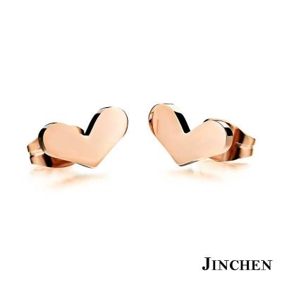 JINCHEN 白鋼愛心耳環 玫瑰金