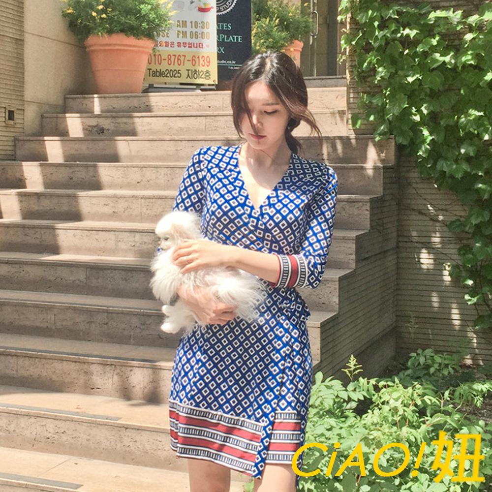 綁帶裏身式民族印花洋裝 (花色)-CIAO妞