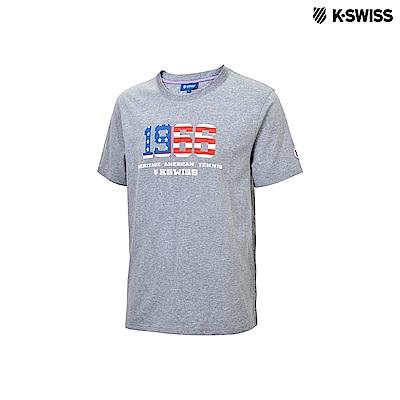 K-Swiss 1966 Logo Tee印花短袖T恤-男-灰