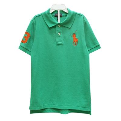 Ralph Lauren 男童數字3經典大馬短袖POLO衫-波斯綠(7歲)