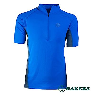 【HAKERS 哈克士】男-半開襟短袖排汗衣-藍色