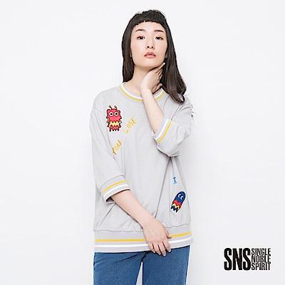 SNS 毛怪對決運動風七分袖上衣(3色)