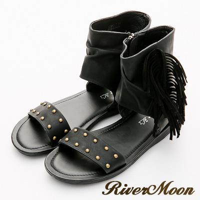 River&Moon涼鞋-復古波西皺褶流蘇包踝羅馬涼鞋-黑