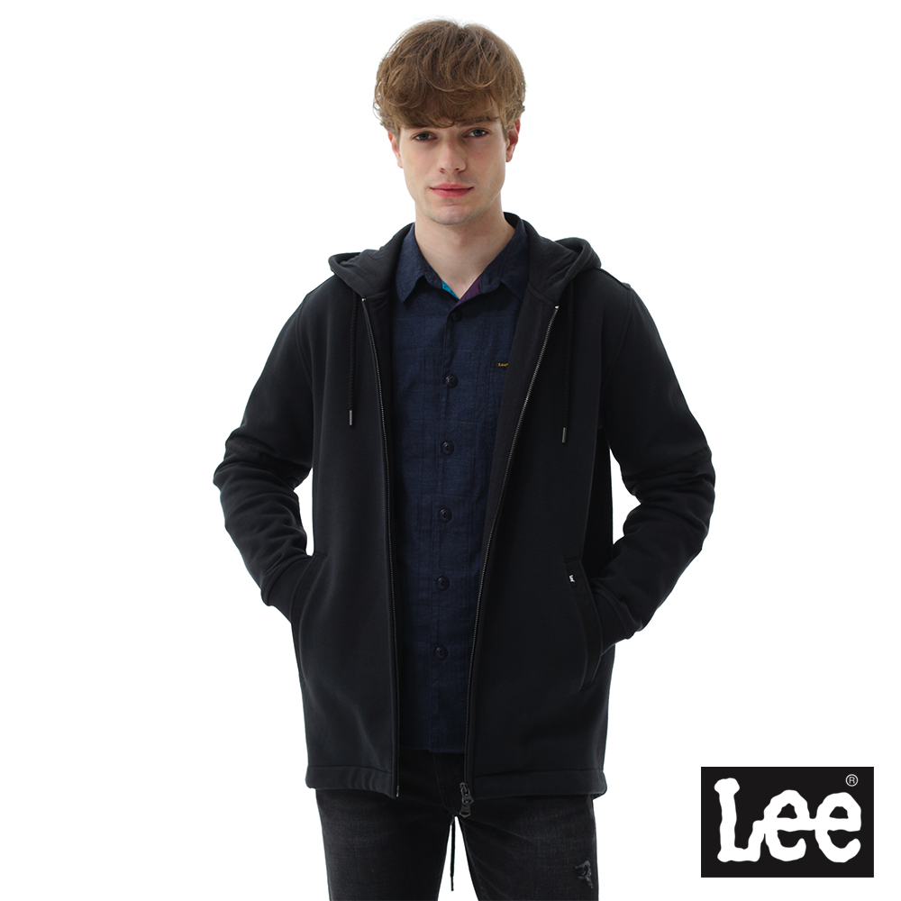 Lee 連帽開襟外套-男款-黑色